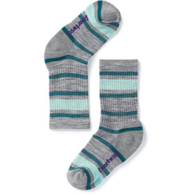 Smartwool Striped Hike Light Strømper Børn, light gray/mint